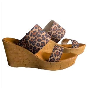 Italian Shoemakers Leopard Wedges Strap Sandals